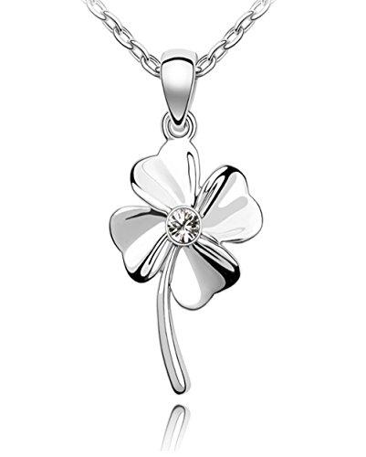 Quadiva E! - Collana da donna - con ciondolo a forma di quadrifoglio (colore: oro bianco) impreziosita con un scintillante cristallo da Swarovski