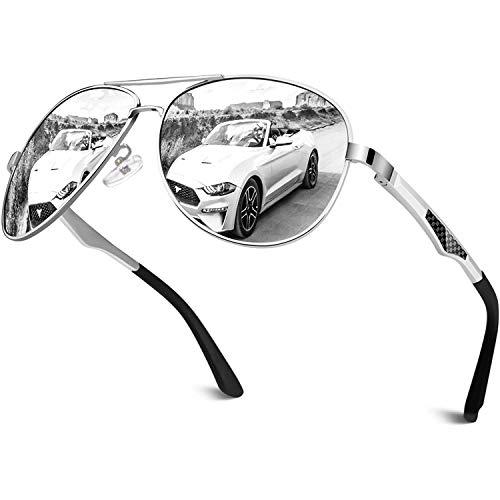 CGID Sonnenbrille Herren Pilotenbrille Polarisiert Piloten Polarisierte Sonnenbrillen Männer Pilot Verspiegelt Unisex Prämie Al MG Metall Rahmen Silber Silber Uv Schutz 400 UV400,GA61, Cat.3, CE