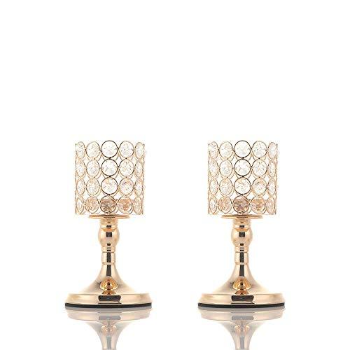 VINCIGANT Chandelier Or Bougeoir en Cristal Cylindre pour Modern Centre Table Designs Decoration Mariage, 20cm&20cm