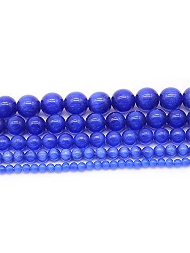Natural azul oscuro ojo de gato ópalo piedras redondas cuentas espaciadoras redondas para hacer...
