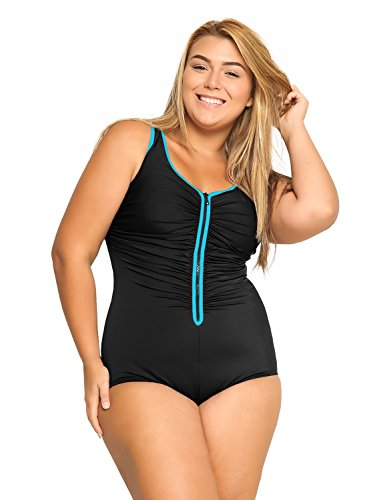 DELIMIRA Women's Built-in Cup Plus Size Swimsuits One Piece Zip Front Bathing Suits Multicoloured #3 4/6