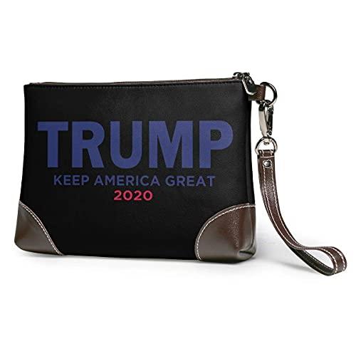 Hdadwy Trump 2020 Keep America Great mujeres portátil suave cuero genuino embrague pulsera pequeña bolsa clásica cartera grande