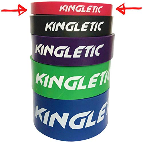 KINGLETIC Elastici Fitness Loop Bands Fascia Elastica Bande Elastiche di Resistenza per Palestra, Powerlifting, Crossfit in Lattice Naturale + eBook (1.Rosso (5-15 kg))