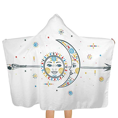 Sdltkhy Sun Moon Arrow 81x130cm Toalla de baño Toalla de Playa con Capucha Patrón de Personalidad Unisex Adecuado para el hogar Playa Piscina Viaje