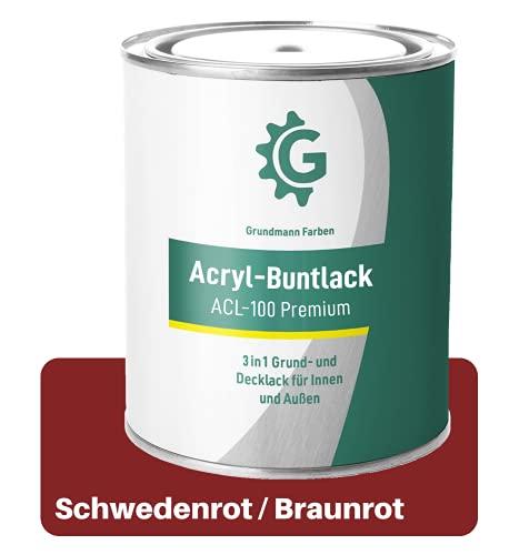 GRUNDMANN Acryllack - 3 kg Buntlack Rot - Halb Matt - Acrylfarbe, Holzfarbe, Holzanstrich, Metallfarbe - 2in1 Lackfarbe für Holz, Metall, Plastik, Kunststoff & Beton - RAL 3002 Kaminrot