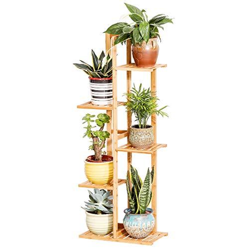Bamboo 5 Tier 6 Potted Plant Stand Rack Multiple Flower Pot Holder Shelf Indoor Outdoor Planter Display Shelving Unit for Patio Garden Corner Balcony Living Room