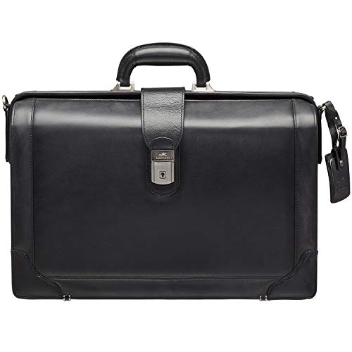 "Mancini Beverly Hills Full Grain Leather Litigator Briefcase for 17.3"" Laptop, Black"