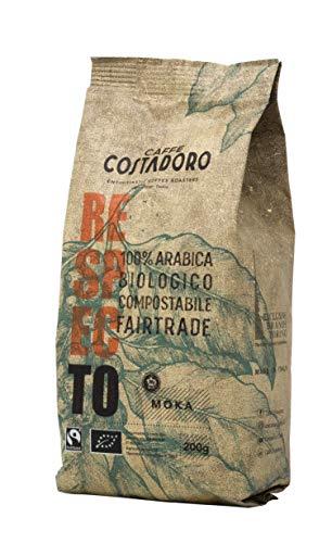 Caffe  Costadoro Caffè Respecto, 100% Arabica, Biologico, Fairtrade, Compostabile Macinato Per Moka, Sacchetto Da 200G - 200 g