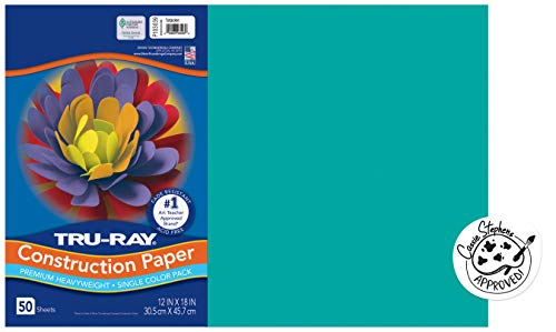 """Tru-Ray Heavyweight Construction Paper, Turquoise, 12"""" x 18"""", 50 Sheets"""