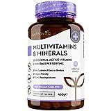 Multivitamines et Minéraux - 365 Comprimés Végan avec 26 Nutriments comprenant Zinc, Vitamines A B12 C D3 E K - Absorption élevée Complement Alimentaire pour Hommes et Femmes - Fabriqué par Nutravita