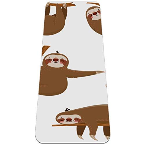 "feichanghao Yoga Mat for Kids,Foldable Yoga Mat 6mmThick Non-Slip Yoga Exercise Mat for Travel(72"" x 24"" x 6mm) Cute Cartoon Sloths"