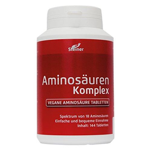 Aminosäuren-Komplex, 144 Tabletten á 1000mg (vegan), hochdosiert, Alle 18 Aminosäuren inkl. aller 8 essentiellen Aminosäuren, hergestellt in Deutschland