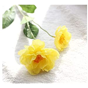 TRRT Fake Plants Artificial Silk Flowers, Silk Poppy Flower for Home Wedding Party Decoration Fake Flower (Color : Yellow)