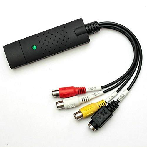 Ruiqas USB 2. 0 VHS a Pc Convertidor de DVD con Controlador CD Adaptador de Tarjeta de Captura de Audio Y Video