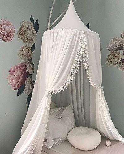 Toldo de cama para niños, cortina de mosquitera de algodón ultraligero, para colgar en el interior, para jugar al aire libre, tienda de campaña, decoración de la cama y el dormitorio
