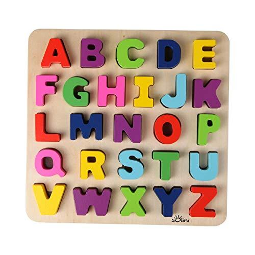 Solini Holzpuzzle ABC (26-tlg.) - Puzzle mit Buchstaben des Alphabets - Spielzeug für Kleinkinder - Holzspielzeug - ab 18 Monaten geeignet - bunt