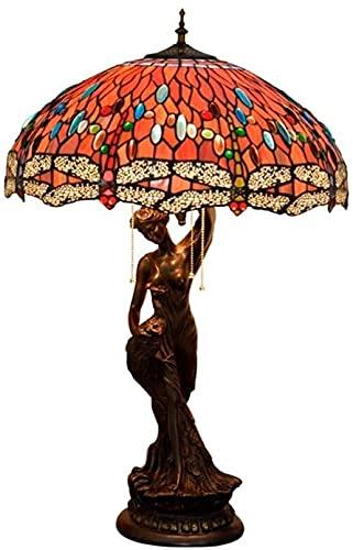 GDICONIC Lámpara LED Lámpara de Mesa Creativa Estilo, vidrieras, libélula, Sala de Estar, Restaurante, Bar, salón, lámpara de Mesa de Belleza, 50 * 81 cm