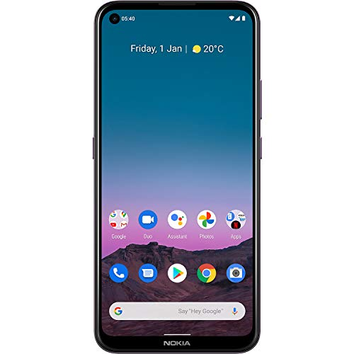 """Nokia 5.4 Smartphone with a 6.39"""" HD+ Screen, 48MP Quad Camera, Qualcomm Snapdragon 662, 2-Day Battery and Android Upgrades in Dusk, Dual SIM, 4/128 GB (AT&T/T-Mobile/Cricket/Tracfone/Mint)"""