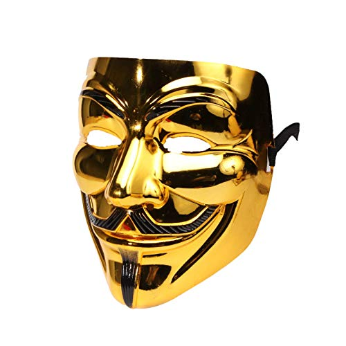 Miuion Guy Fawkes Mask -V for Vendetta, Anonymous Cosplay Party Mask for Halloween(Golden)
