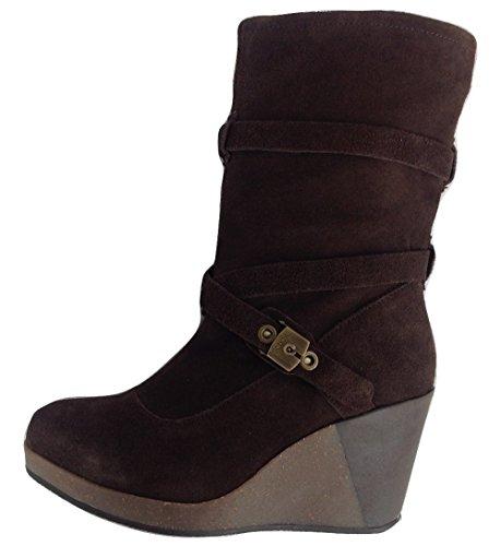 Scholl Dr KESSY Damen Stiefel Stiefeletten Keilabsatz Wedges Boots Dunkelbraun Dark Brown (1019) EU 36, UK 3