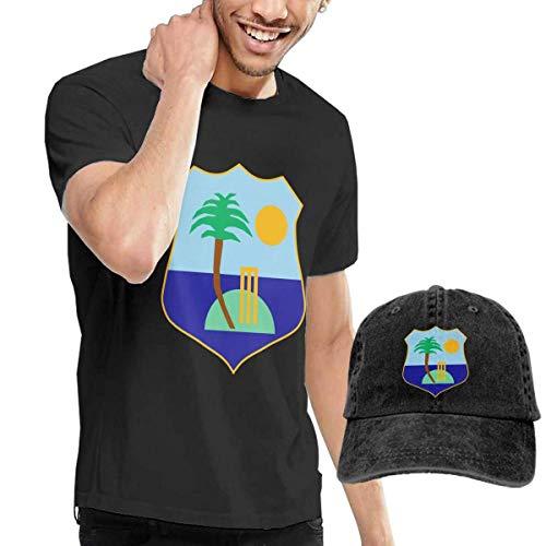 SOTTK Camisetas y Tops Hombre Polos y Camisas, West Indies Cricket Board Flag Men's Short Sleeve T Shirt & Washed Adjustable Baseball Cap Hat