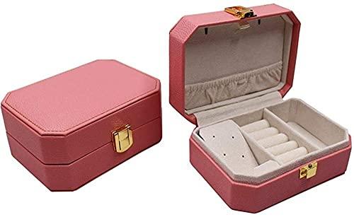 Caja de almacenamiento de joyería de moda de cuero de una capa de joyería caso collar anillo almacenamiento joyería caja de almacenamiento con espejo-14 x 10,5 x 6 cm_rojo