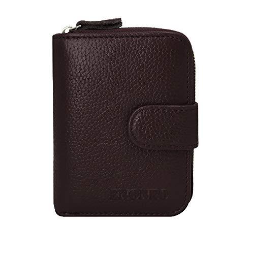 ENONEO Kreditkartenetui RFID Schutz Kartenhalter Geldbörse Damen Leder mit 12 Karten 4 ID Windows & 2 Geld Münzfach Fächer Geldbeutel Damen Klein Portemonnaie Frauen (Kaffee)