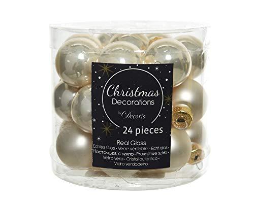 KAE 24-delige set mini - kerstballen van glas 25mm (parel - champagne opaal/mat) // Spiegelbessen kerstboomversiering boomballen kerstballen blik, kleur