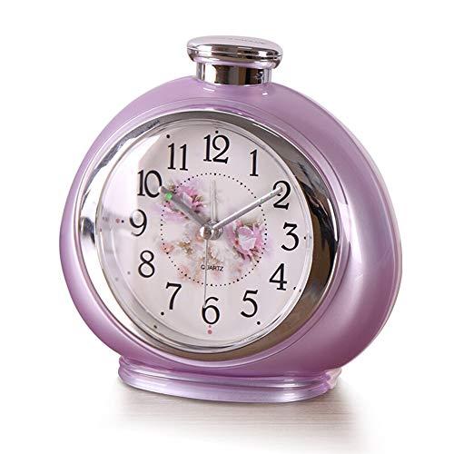 WYZ Modern Desk Clock batterij-aangedreven nachtlampje, tikt niet, met wekker en kleine tafelklok voor de woonkamer