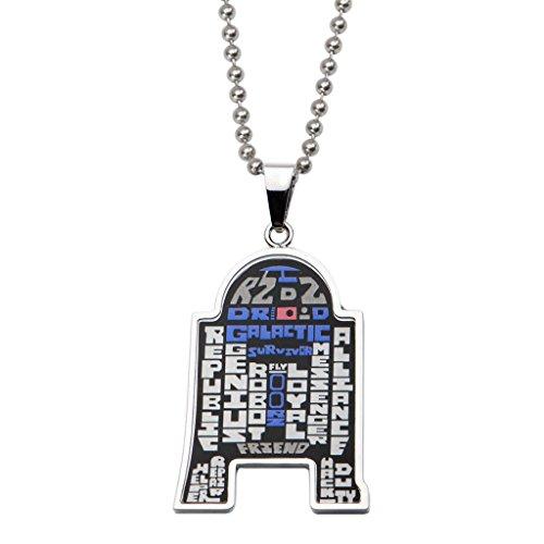 Star Wars: Chaîne de 55,9 cm R2D2 en émail typographie art collier pendentif collier en acier inoxydable 316