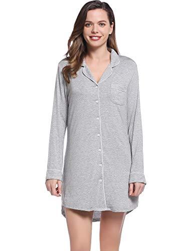 Amorbella Damska koszula z guzikami do spania chłopak koszula nocna piżama top koszula nocna duży rozmiar