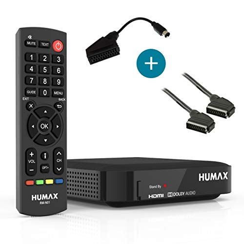 Humax Kabel HD Nano Set mit Scartkabel & -konverter/HDTV Kabelreceiver digital und HDMI Kabel/DVB-C Kabelfernsehen in Full HD (1080p) / digitaler Kabelempfang/schwarz