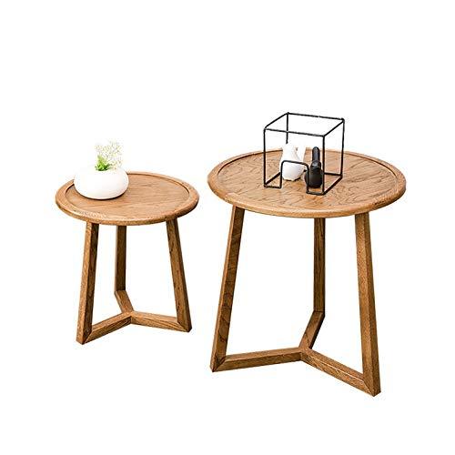 Saladplates-LXM Set van 2 ronde salontafels gemaakt van hout en MDF hout, bijzettafels voor woonkamer, slaapkamer, badkamers of om alle items weer te geven