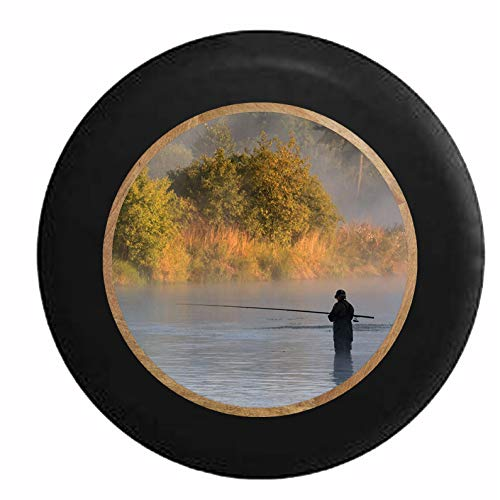 Niet toepasbaar Tire Cover Vliegenvissen Waten The River Lake drukband bandendiameter waterdicht 4 maten Universal Kleurrijke Duurzame wielafdekking geschikt voor aanhanger Jeep Rv SUV 16in/76~79cm 1