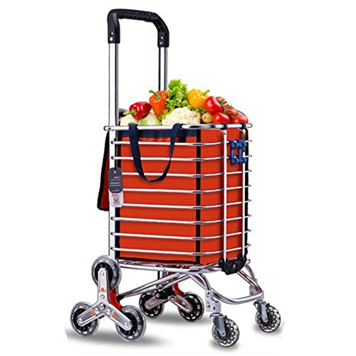 Grocery Laundry Utility Foldable Shopping Cart Trolley, Aluminum Alloy 8-Wheel Stair Climbing, Load Capacity 50kg,Free Hook Luggage Rope Storage Bag,Portable