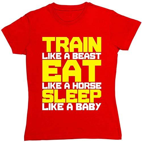 Samyoo trein als een beest eten als paard slapen als baby Womens Fashion T-Shirt
