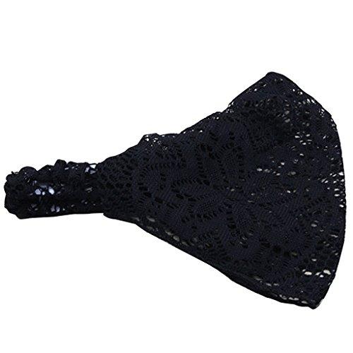Prettyia Spitze Tuch Haarband Kopfschmuck Stirnband Kopftuch Bandana Sommer Accessoires - Schwarz
