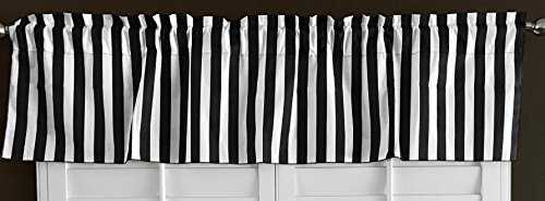 lovemyfabric Cotton Blend Striped Print Kitchen Curtain Valance Window Treatment (Black & White)