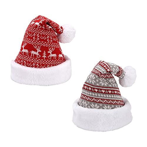 2 Gorro Navideño Sombrero de Navidad de felpa suave Espesar gorro de Papá Noel Gorro de punto de nieve Sombrero de invierno de reno Sombreros de Navidad cómodos unisex para adultos fiesta de año nuevo