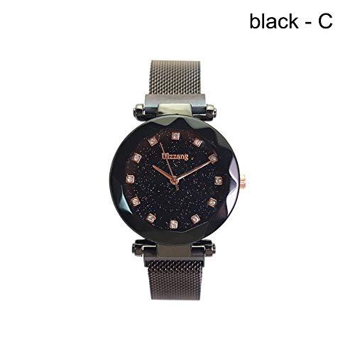 Soul Item Mujeres Starry Sky Albañil Trabajo Reloj magnético Strap aleación Hebilla Cinturón Reloj Regalo de cumpleaños, Negro, C