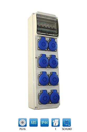 Baustromverteiler/Wandverteiler / Stromverteiler 8 x 230V/16A Schuko verdrahtet + HAGER LS