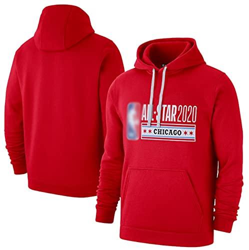 Baloncesto Casual Sports Jersey Hoodie Serie All-Star Theme Sudadera para Hombres,Rojo,M