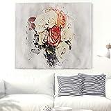 Gouache Stieg Tapis mural romantique Motif bouquet de fleurs 91x59inch White