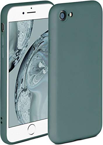ONEFLOW Soft Hülle kompatibel mit iPhone 7/8 / SE 2 (2020) Hülle aus Silikon, erhöhte Kante für Displayschutz, zweilagig, weiche Handyhülle - matt Petrol