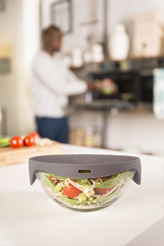 Tomorrow\'s Kitchen Single Steamer Vaporera Individual, Cristal, Tapa Gris, 17.2 x 14.4 x 7.8 cm