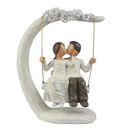 jinhuoba Romantic Couple Figurines in Love, 9Inch Hand Painted Sweet Loving Together Couple Sculpture to Remember Beautiful Moment - Best Gift for Valentine's Day, Wedding Anniversary,Weddings