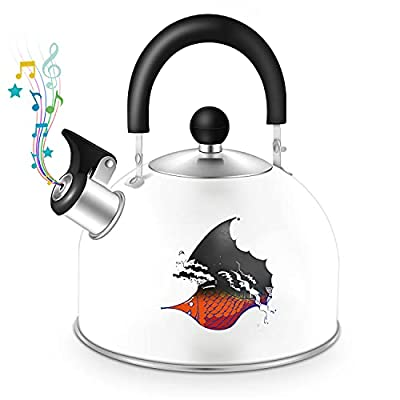 Tea Kettle Stovetop Whistling Teakettle, Color Changing Stainless Steel Teapot with Heat Proof Handle, 2.5 Liter/2.65 Quart