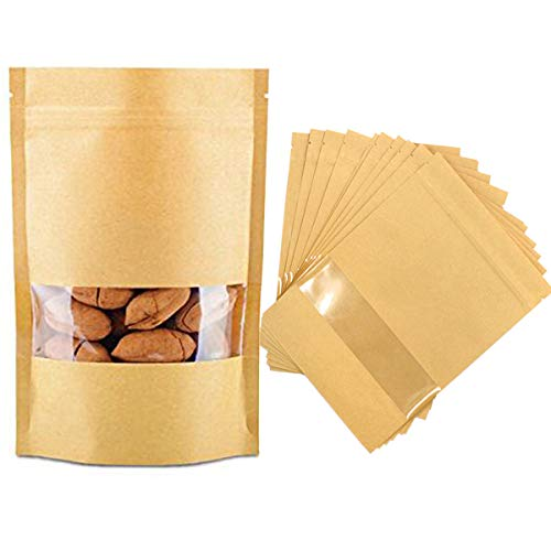 Mengger 100pcs Papierbeutel Papiertüten mit Fenster Zip Kleine Mini Kraftpapierbeutel imprägniern biologisch abbaubare Kraftpapier Tüten Beutel kann als SamenBeutel Geschenktüten