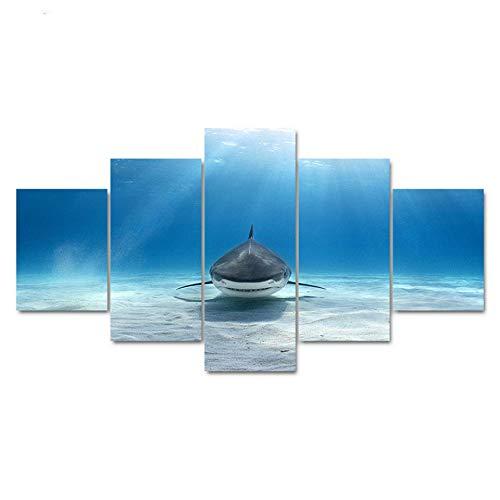 PEJHQY HD Impreso Lienzo Cartel Arte Pintura Marco Modular 5 Panel Fondo del tiburón Marino Decoración para el hogar Imágenes de Pared Sala de Estar,Cuadro en Lienzo Lanzarote