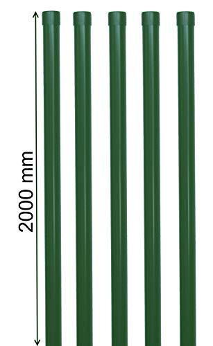 5 Eisenrohr 2000 mm lang in grün RAL 6005 als Zaunpfosten oder Zaunstrebe Ø 34mm für Metallzaun Schweißgitter